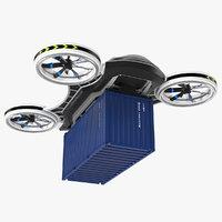 cargo quadrocopter drone container 3D