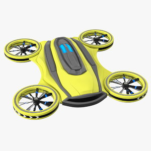3D yellow cargo quadrocopter drone