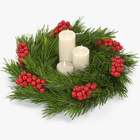 3D christmas wreath white candles model