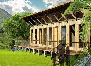 village bamboo house 3D