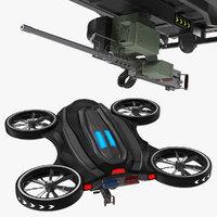 3D drone machine gun model