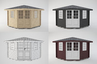 wooden shed wood 3D model
