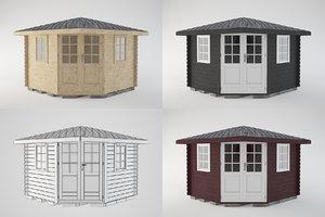 wooden shed wood 3D model