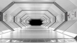 sci fi corridor white 3D model