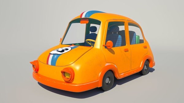 3D model rigged cartoon car