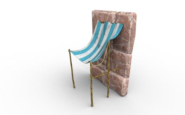 3D market canopy stone wall model