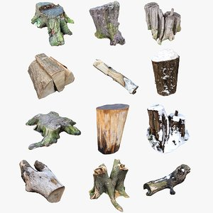 3D nature stumps wood logs