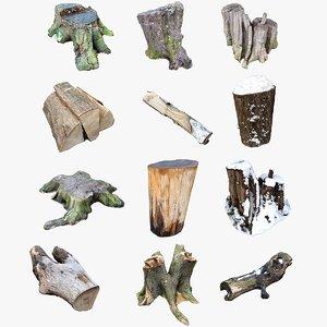 3D nature stumps wood logs