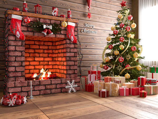 3D model fireplace modeled
