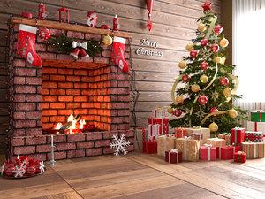 3D model fireplace modeled