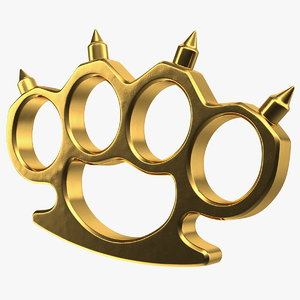spiked golden brass knuckles 3D model
