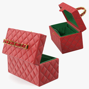 3D vintage crimson quilted cosmetic