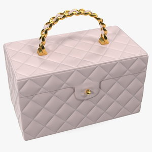 vintage pink quilted cosmetic 3D