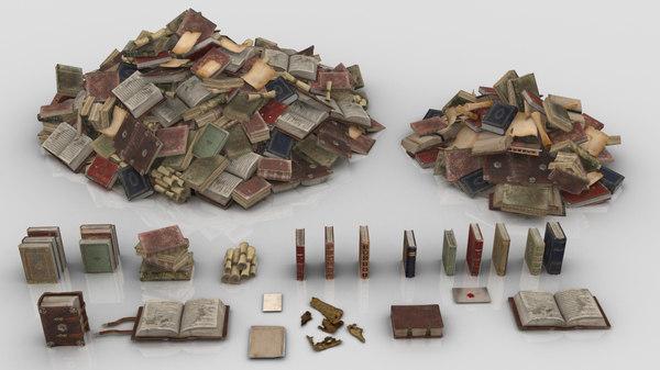 books paper medieval 3D