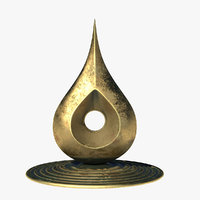 3D modern sculpture d brass