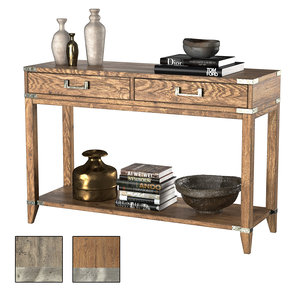 cayden campaign 2-drawer console table 3D model