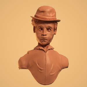 bust sculpture charlie chaplin 3D model