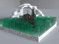 3D sculpture submarine model