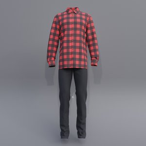 3D male button shirt jeans