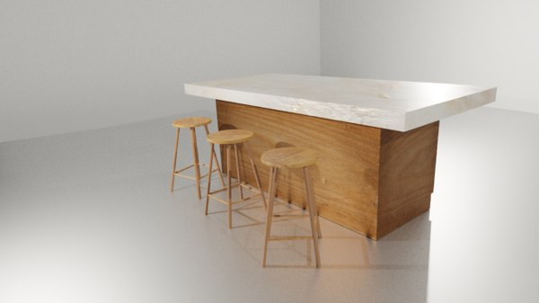 3D model kitchen table chair bar