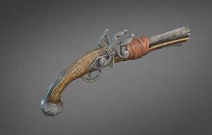 3D model stylized pirate pistol
