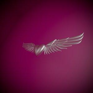 3D heart wings model