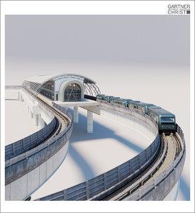 metro railway station train rail 3d max