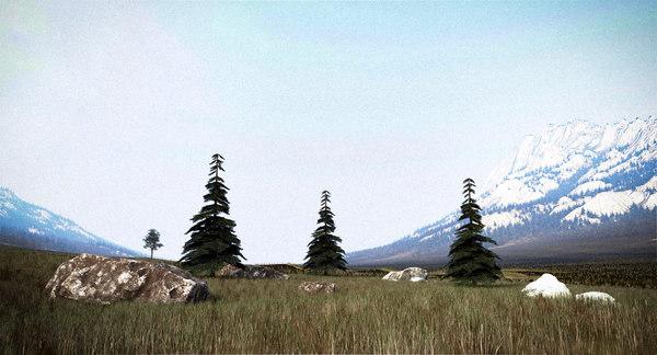 scene terrain forest 3D model