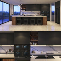 3D grey kitchen model