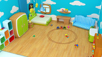 Cartoon Boy room - Low-poly 3D model Low-poly 3D model