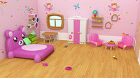 Cartoon Gril room - Low-poly 3D model Low-poly 3D model Low-poly 3D model
