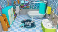Bathroom cartoon Low-poly