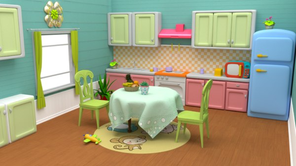 3D model kitchen cartoon toon