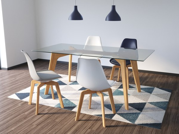 modern table chair lamp 3D model