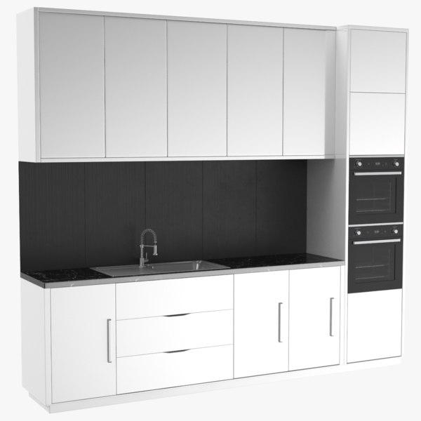 real kitchen unit scene 3D