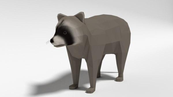 3D raccoon nature model