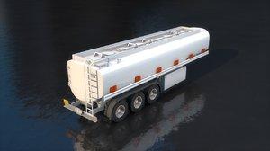 3D gas truck tank trailer model