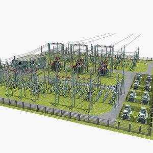 substation power transformation electricity 3D model