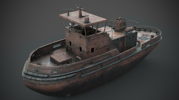 3D rusted abandoned tug boat