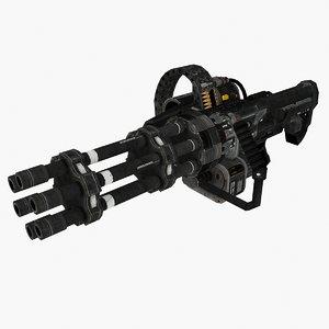 3D model minigun type 03 gun