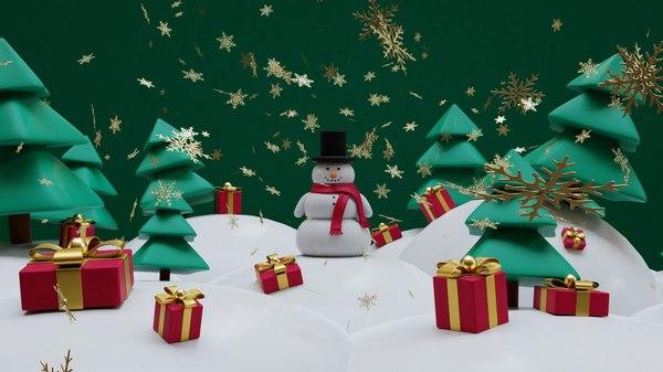 snowman- trees- gift set 3D