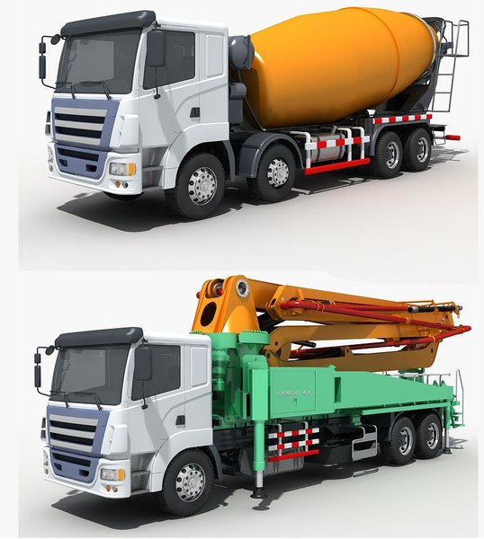 3D vehicle concrete pumping mixing model