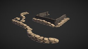 sandbags fortification 3D model
