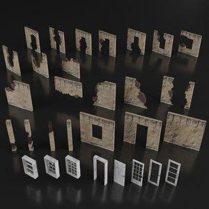 set destroyed building 3D model