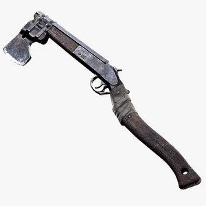 3D shotgun axe ready asset