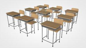 3D japanese school desk model