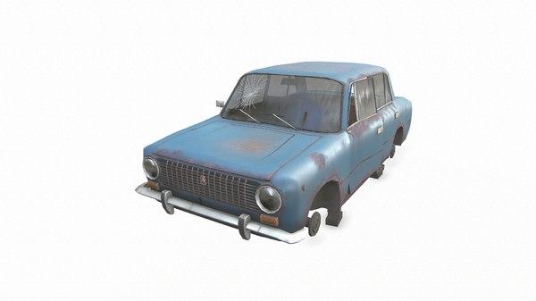 gameready abandoned soviet car 3D model