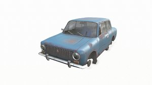 gameready abandoned soviet car 3D model