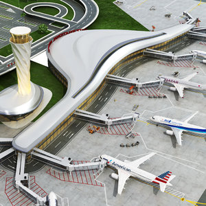 3D international airport vehicles planes