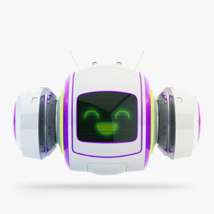 cute levitating robot bot 3D model